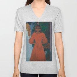 Edvard Munch - Red and White Unisex V-Neck