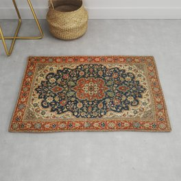 Central Persia 19th Century Authentic Colorful Dark Blue Red Tan Vintage Patterns Rug
