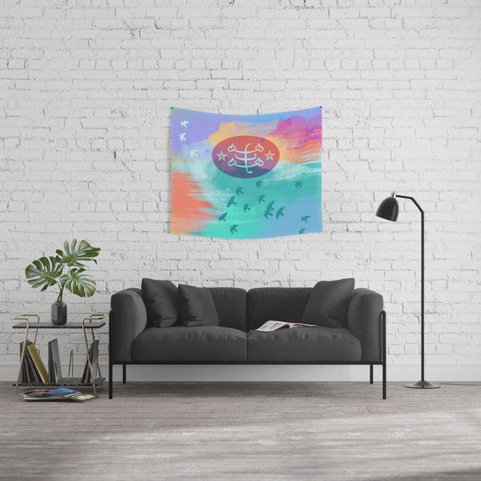 Bahai Ringstone Symbol Sky Background Wall Tapestry By Mishablaise