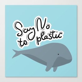 Say no to plastic. Whale, sea, ocean.  Pollution problem concept Eco, ecology banner poster. Canvas Print