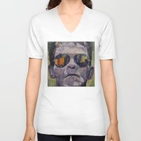 frankenstein V-neck T-shirts featuring Frankenstein by Michael Creese
