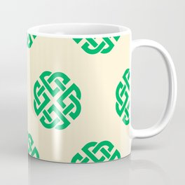 Celtic Endless Knot Symbol Green on Cream Background Coffee Mug