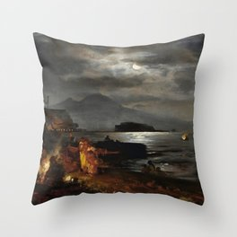 The Bay of Naples and Mount Vesuvius in the Moonlight by Oswald Achenbach Throw Pillow