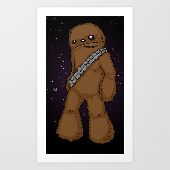 Chewbacca with Stars by RonkyTonk Art Print
