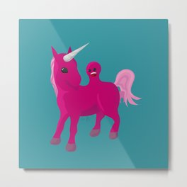 Unicorn with a Tumor Metal Print