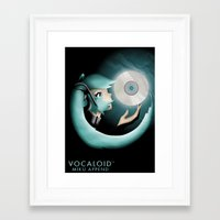 vocaloid Framed Art Prints featuring Vocaloid Miku Append by Katy Marie Ketter-Franklin