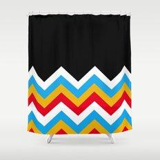 Color Blocked Chevron 18 Shower Curtain