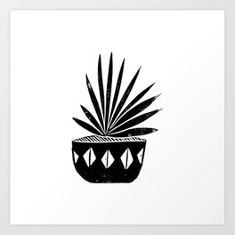 Aloe houseplant linocut lino print black and white minimal modern office home dorm college decor Art Print