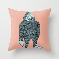 bigfoot Throw Pillows featuring Bigfoot by Mason W