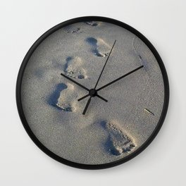Footprints In The Sand Photo Wall Clock