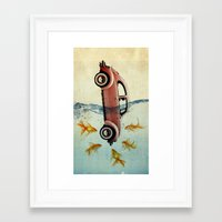 vw Framed Art Prints featuring VW beetle and goldfish by Vin Zzep