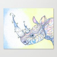 rhino Canvas Prints featuring Rhino by Kate Fitzpatrick