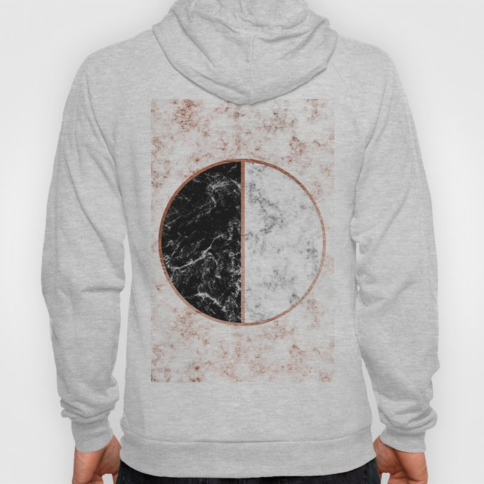 Marble black and white circle Hoody