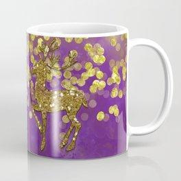 Purple Christmas faux golden glitter deer Coffee Mug