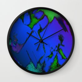 Colliding panels blue Wall Clock