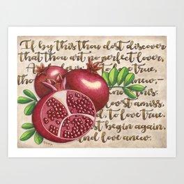 Pomegranate, Love Anew, Persephone, fruit art, love poem, food art, rebirth, fertility goddess Art Print