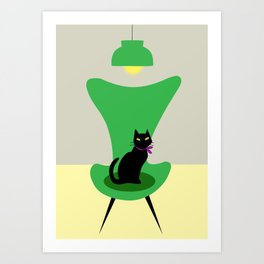Cat on a sofa in green Art Print