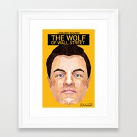 wolf of wall street Framed Art Prints featuring The Wolf of Wall Street Minimalist Poster by 13 Design