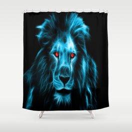 lion king africa animal fractalius blue Shower Curtain