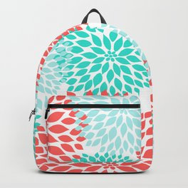 Coral Teal Dahlia Bouquet Backpack