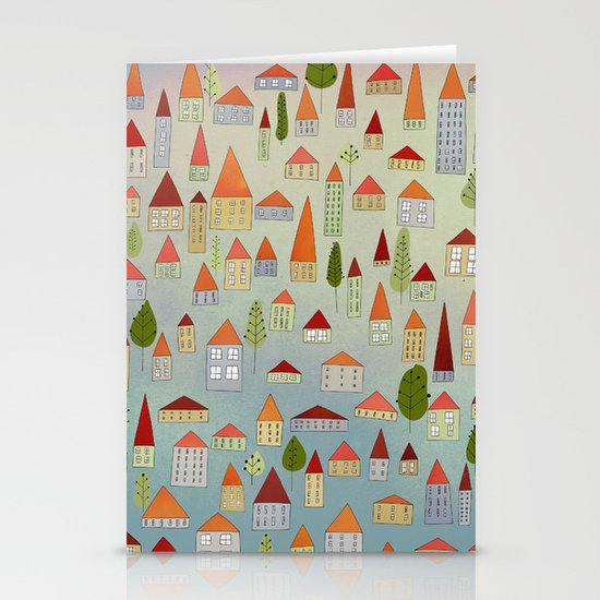 100 little houses Stationery Cards