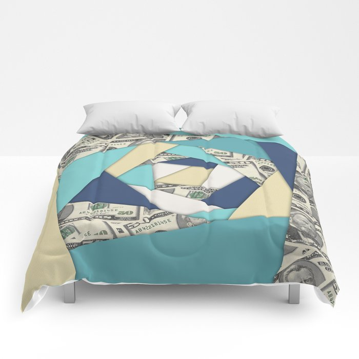 Colorful Currency Collage Comforters