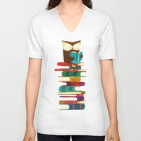 reading V-neck T-shirts featuring Owl Reading Rainbow by Picomodi