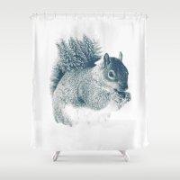 squirrel Shower Curtains featuring squirrel by Peg Essert