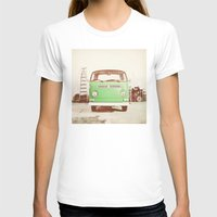 volkswagon T-shirts featuring Vintage Volkswagen Bus (Green Edition) by Laura Ruth