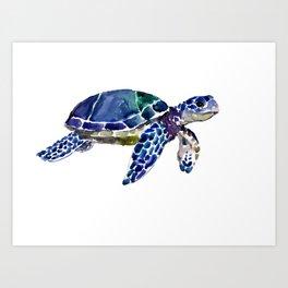Sea Turtle Illustration blue purple green turtle art Art Print