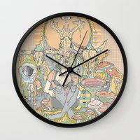 cage Wall Clocks featuring gilded cage by Cassidy Rae Marietta