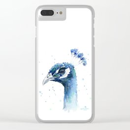 Peacock Watercolor Painting Bird Animal Clear iPhone Case