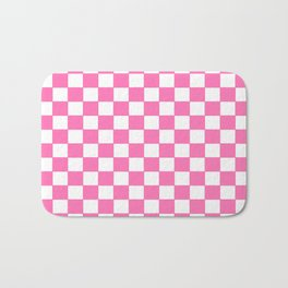 Checkers - Pink and White Bath Mat