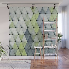 Textured Triangles Lime Gray Wall Mural