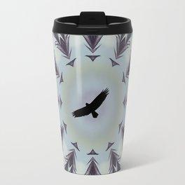 bird feather mandala, spirit animal, eagle bird of prey hawk art Travel Mug