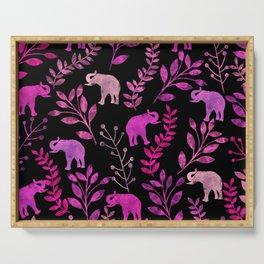 Watercolor Flowers & Elephants III Serving Tray