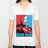 iron man V-neck T-shirts featuring Iron Man by C.Rhodes Design