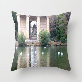 Reflection at Villa Borghese. Throw Pillow