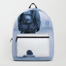 Inspiring Intriguing Lone Wanderer Snowy Winter Landscape Backpack