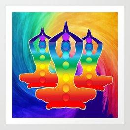 TRIPLE Om Meditation Mantra Chanting DESIGN Art Print