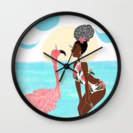 Flamigo Kiss Wall Clock
