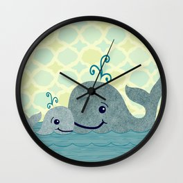 Whale Mom and Baby Wall Clock