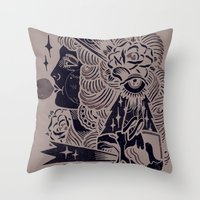 bubblegum Throw Pillows featuring Bubblegum by DaggersForTeeth