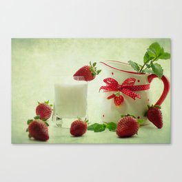 Country-style still life of fresh fruit Canvas Print