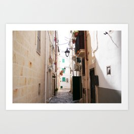 Streets of Monopoli Art Print