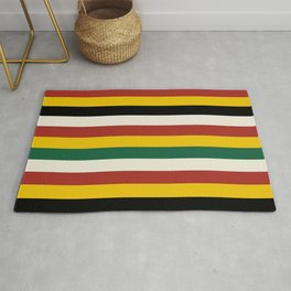 Bold Rustic Lodge Stripes Black Yellow Red Green Rug