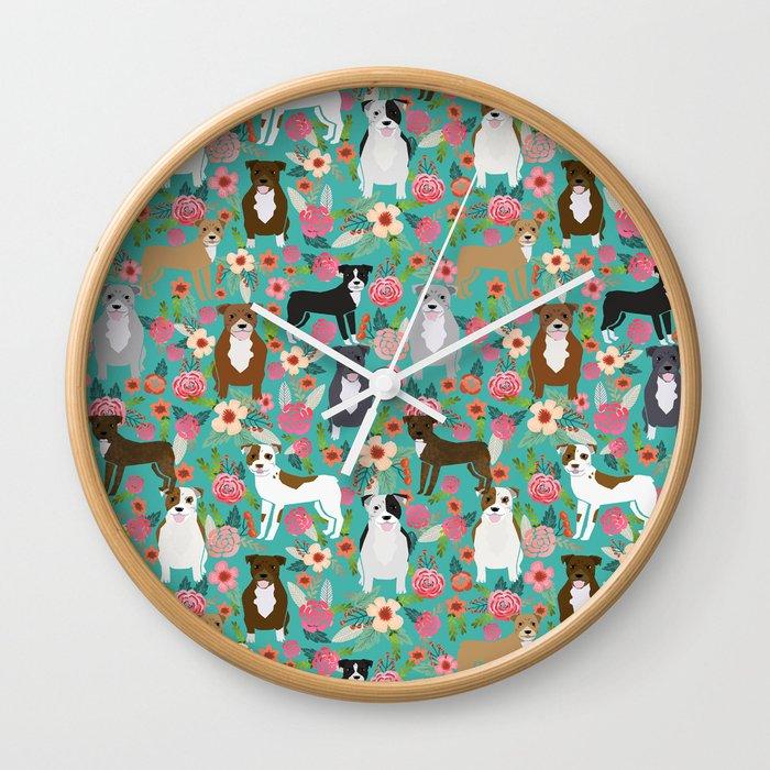 Pitbull mixed coat colors dog breed lover pibbles pitbulls florals gifts  Wall Clock