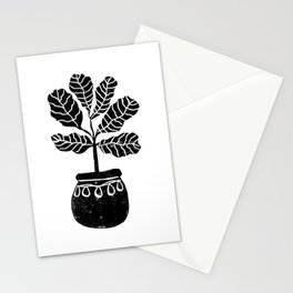 Fiddle Fig linocut house plant lino print black and white minimal art for office decor Stationery Cards