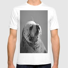 Howth Harbour Seal White Mens Fitted Tee MEDIUM