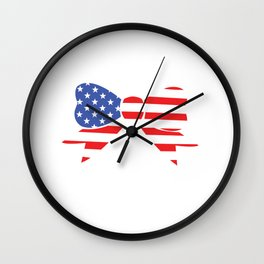 America Bow Graphic Patriotic 'Merica T-shirt Wall Clock